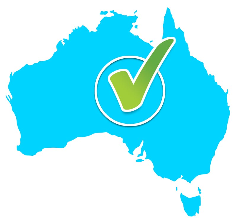 map of Australia show full coverage of our service area